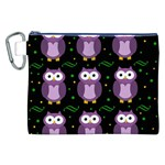 Halloween purple owls pattern Canvas Cosmetic Bag (XXL) Front