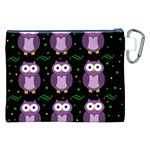 Halloween purple owls pattern Canvas Cosmetic Bag (XXL) Back