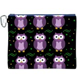 Halloween purple owls pattern Canvas Cosmetic Bag (XXXL) Front