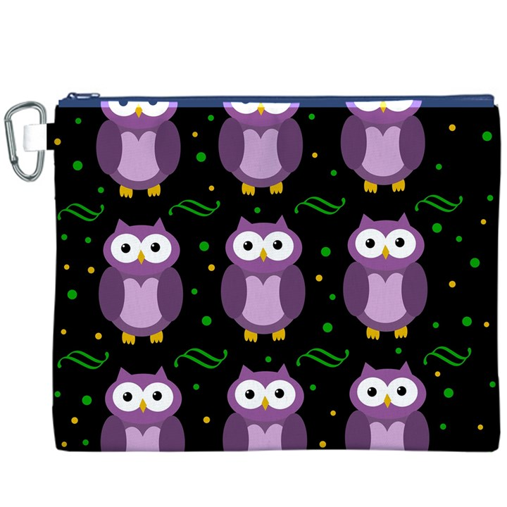 Halloween purple owls pattern Canvas Cosmetic Bag (XXXL)