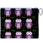 Halloween purple owls pattern Canvas Cosmetic Bag (XXXL) Back