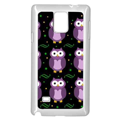 Halloween purple owls pattern Samsung Galaxy Note 4 Case (White)