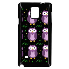 Halloween purple owls pattern Samsung Galaxy Note 4 Case (Black)
