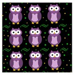 Halloween purple owls pattern Large Satin Scarf (Square) Front