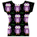 Halloween purple owls pattern Women s V-Neck Cap Sleeve Top Back