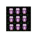 Halloween purple owls pattern Satin Bandana Scarf Front