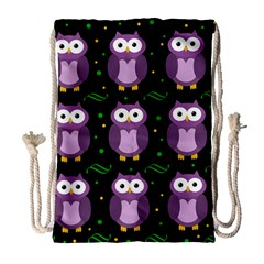 Halloween purple owls pattern Drawstring Bag (Large)