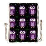 Halloween purple owls pattern Drawstring Bag (Large) Front