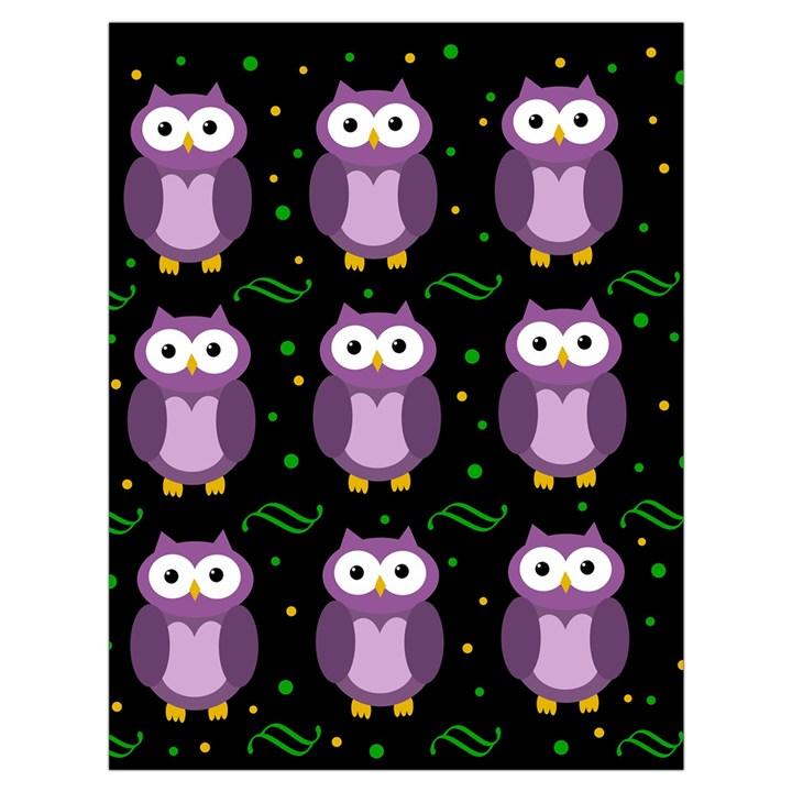 Halloween purple owls pattern Drawstring Bag (Large)