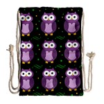 Halloween purple owls pattern Drawstring Bag (Large) Back
