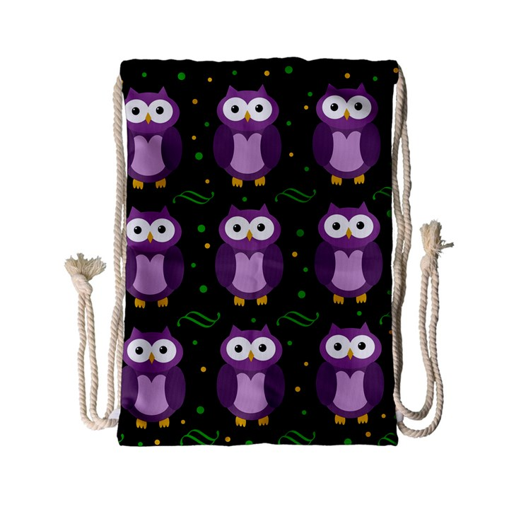 Halloween purple owls pattern Drawstring Bag (Small)