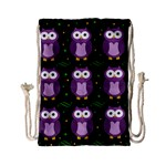 Halloween purple owls pattern Drawstring Bag (Small) Back