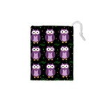 Halloween purple owls pattern Drawstring Pouches (XS)  Front