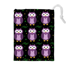 Halloween Purple Owls Pattern Drawstring Pouches (extra Large)