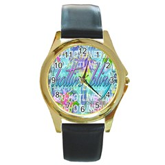 Drake 1 800 Hotline Bling Round Gold Metal Watch
