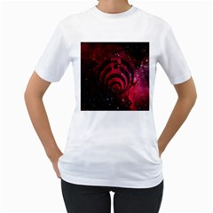 Bassnectar Galaxy Nebula Women s T-Shirt (White) (Two Sided)