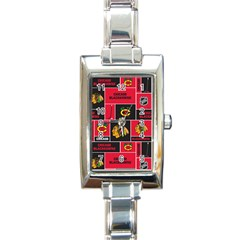 Chicago Blackhawks Nhl Block Fleece Fabric Rectangle Italian Charm Watch