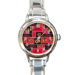Chicago Blackhawks Nhl Block Fleece Fabric Round Italian Charm Watch