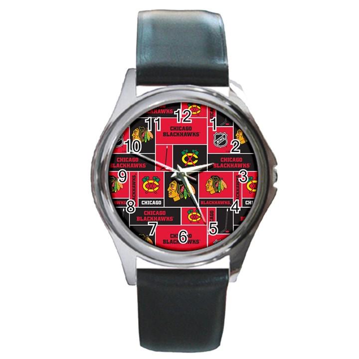 Chicago Blackhawks Nhl Block Fleece Fabric Round Metal Watch