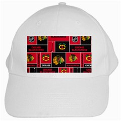 Chicago Blackhawks Nhl Block Fleece Fabric White Cap