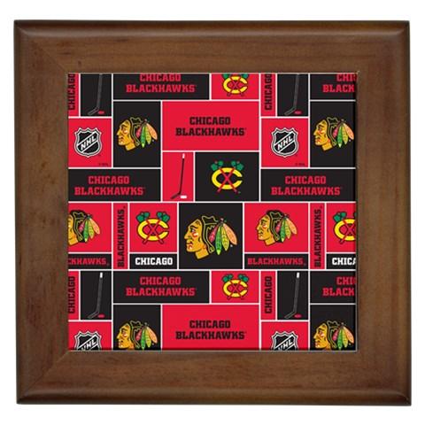 Chicago Blackhawks Nhl Block Fleece Fabric Framed Tiles