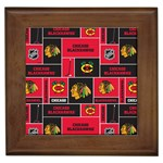 Chicago Blackhawks Nhl Block Fleece Fabric Framed Tiles Front