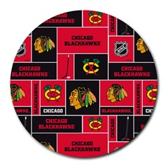 Chicago Blackhawks Nhl Block Fleece Fabric Round Mousepads