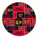 Chicago Blackhawks Nhl Block Fleece Fabric Round Mousepads Front
