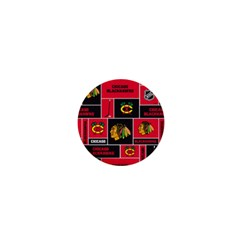 Chicago Blackhawks Nhl Block Fleece Fabric 1  Mini Buttons