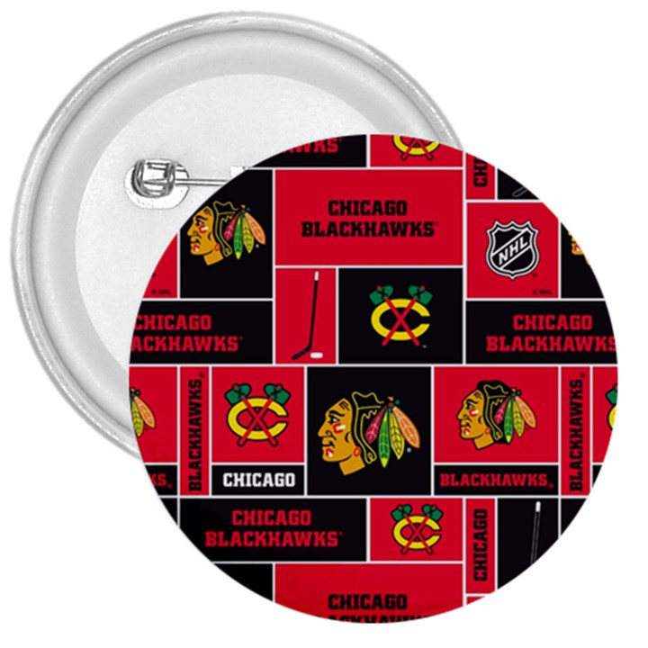 Chicago Blackhawks Nhl Block Fleece Fabric 3  Buttons