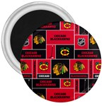 Chicago Blackhawks Nhl Block Fleece Fabric 3  Magnets Front