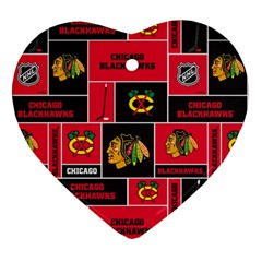 Chicago Blackhawks Nhl Block Fleece Fabric Ornament (Heart)