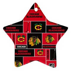 Chicago Blackhawks Nhl Block Fleece Fabric Ornament (Star)