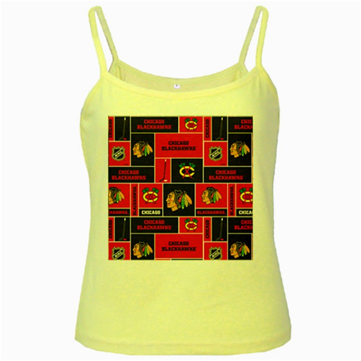 Chicago Blackhawks Nhl Block Fleece Fabric Yellow Spaghetti Tank