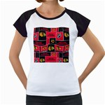 Chicago Blackhawks Nhl Block Fleece Fabric Women s Cap Sleeve T Front