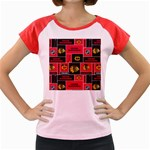 Chicago Blackhawks Nhl Block Fleece Fabric Women s Cap Sleeve T-Shirt Front