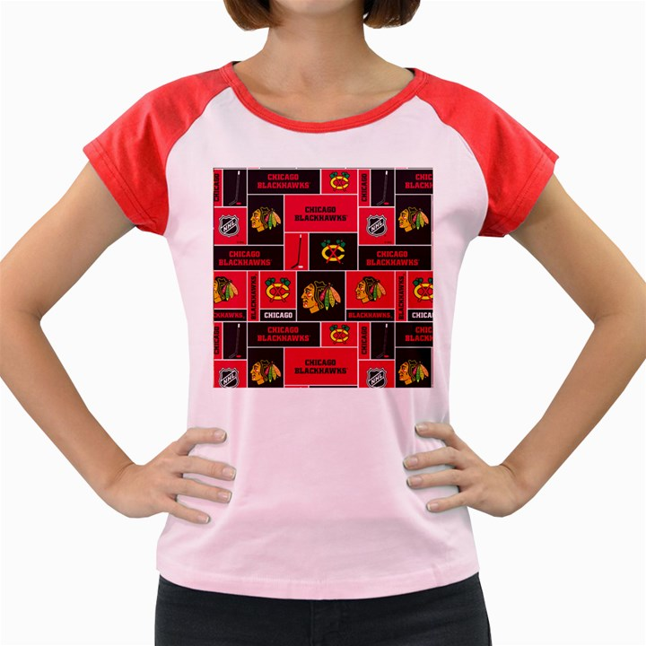 Chicago Blackhawks Nhl Block Fleece Fabric Women s Cap Sleeve T-Shirt