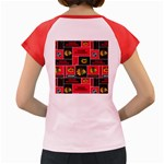 Chicago Blackhawks Nhl Block Fleece Fabric Women s Cap Sleeve T-Shirt Back