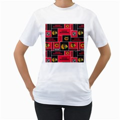 Chicago Blackhawks Nhl Block Fleece Fabric Women s T-Shirt (White) (Two Sided)