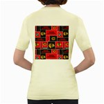 Chicago Blackhawks Nhl Block Fleece Fabric Women s Yellow T-Shirt Back