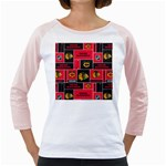 Chicago Blackhawks Nhl Block Fleece Fabric Girly Raglans Front