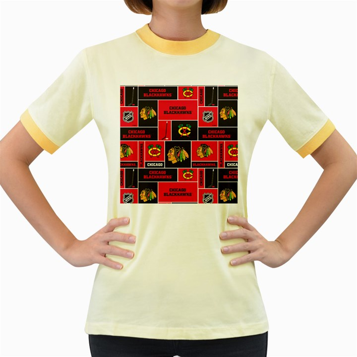 Chicago Blackhawks Nhl Block Fleece Fabric Women s Fitted Ringer T-Shirts
