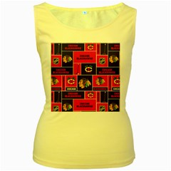 Chicago Blackhawks Nhl Block Fleece Fabric Women s Yellow Tank Top