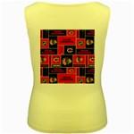 Chicago Blackhawks Nhl Block Fleece Fabric Women s Yellow Tank Top Back