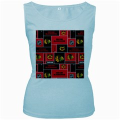 Chicago Blackhawks Nhl Block Fleece Fabric Women s Baby Blue Tank Top