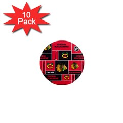 Chicago Blackhawks Nhl Block Fleece Fabric 1  Mini Magnet (10 pack)