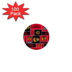 Chicago Blackhawks Nhl Block Fleece Fabric 1  Mini Buttons (100 pack)
