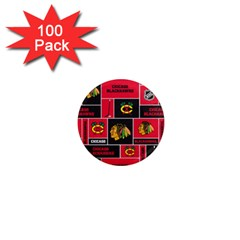 Chicago Blackhawks Nhl Block Fleece Fabric 1  Mini Magnets (100 pack)