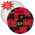 Chicago Blackhawks Nhl Block Fleece Fabric 3  Buttons (100 pack)  Front