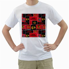 Chicago Blackhawks Nhl Block Fleece Fabric Men s T-Shirt (White) (Two Sided)